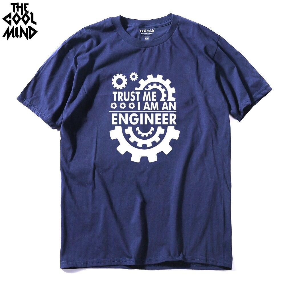 Мужская футболка COOLMIND TR0112A, хлопковая Футболка с принтом TRUST ME I AM AN engineer, повседневная трикотажная футболка с круглым вырезом