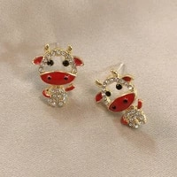 chinese style classic zodiac ox stud earrings for girls small cute sweet crystal earrings 2021 personality fashion women jewelry