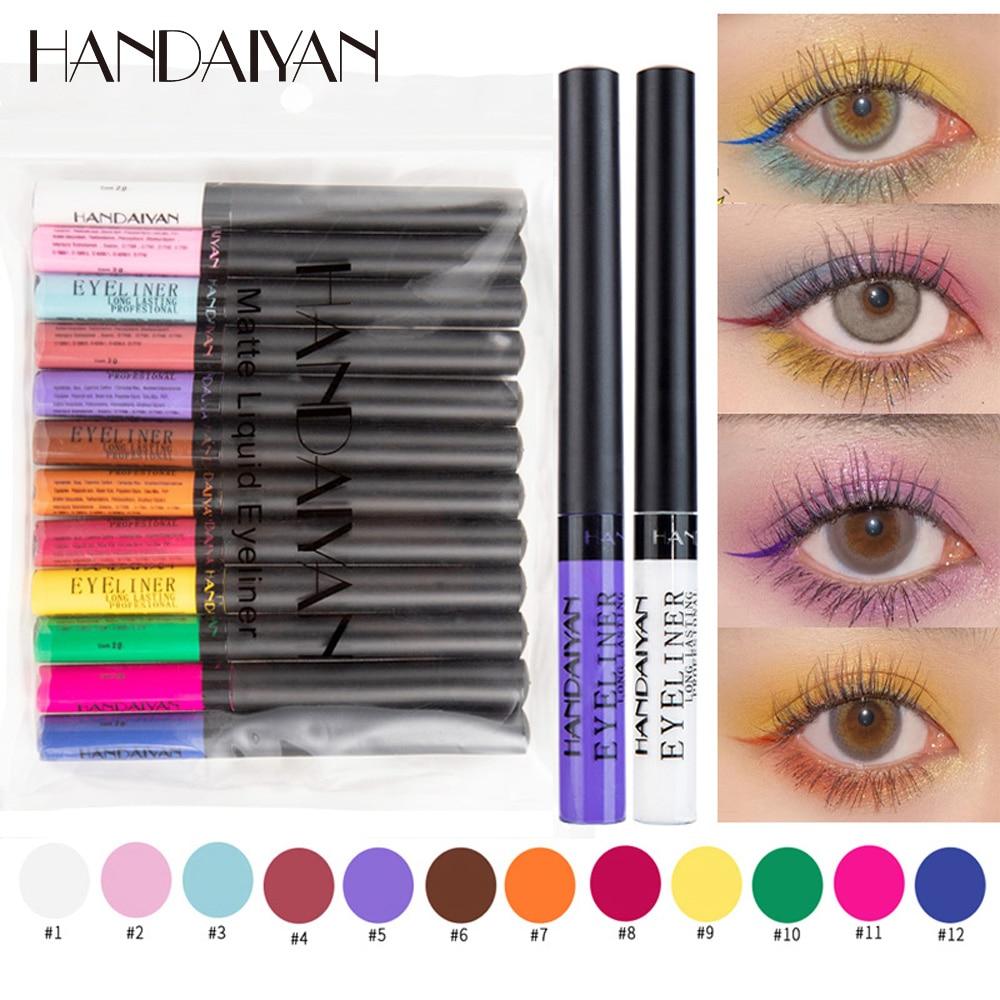 HANDAIYAN Waterproof Matte Colorful Eyeliner Pencil 12 Colors/kit Long Lasting Makeup Liquid Eye Liner Green Eyes Cosmetics Pen