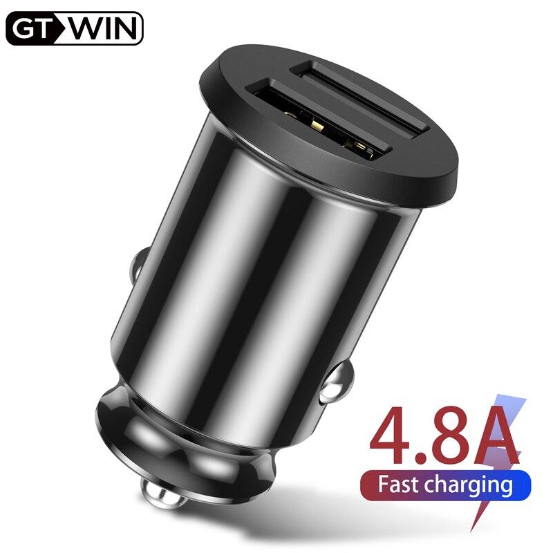 Автомобильное зарядное устройство GTWIN 4.8A с двумя usb-портами, быстрая зарядка для iPhone, Samsung, Xiaomi, Huawei, мобильный телефон, адаптер, быстрая зарядка, автомобильное зарядное устройство USB