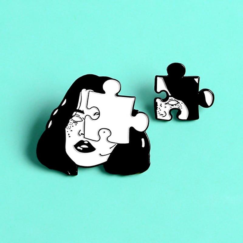 Horror mujer cara broches rompecabezas dividido mujer cara esmalte Pin Halloween Punk regalos de amigos amantes insignia regalo de la joyería