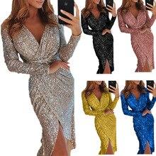 Elegant Gilding Celebrity Party Sequins Dress Plus Size 3XL Asymmetry Hight Split Midi Dresses Sexy Femme Bobe Silvery Vestidos