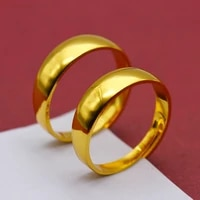 6 mm metal wedding band finger ring gold color adjustable design rings for men women fashion jewelry