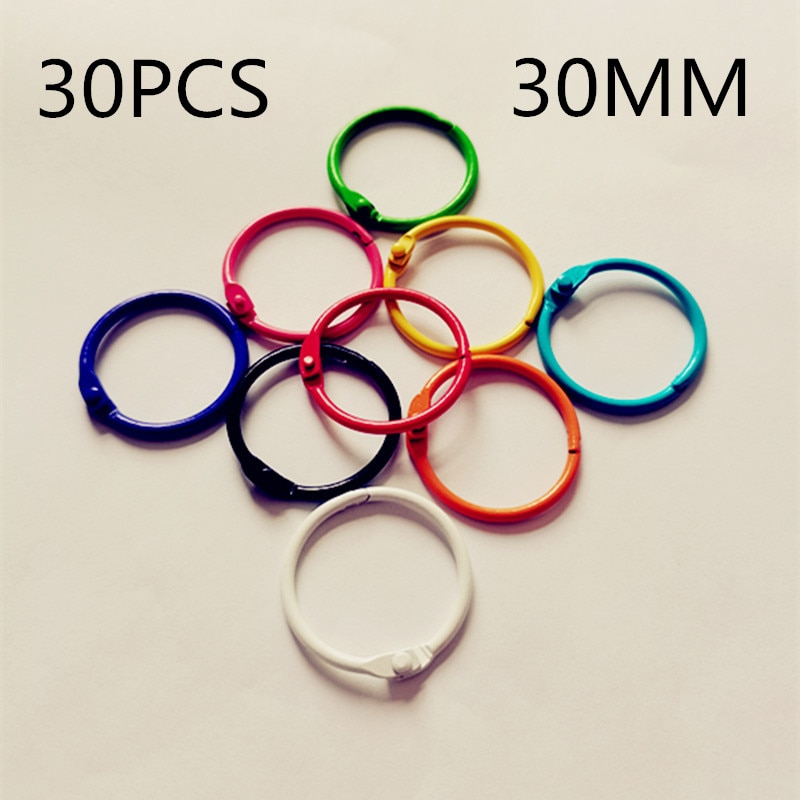 30PCS30MM color metal book ring book ring DIY book card binding buckle iron ring buckle movable opening ring недорого