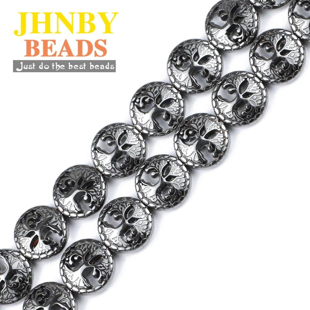 JHNBY Árbol de la vida negro Piedra Natural hematita 12mm 20 Uds espaciador cuentas sueltas para la fabricación de joyas Diy collar pulseras Accesorios