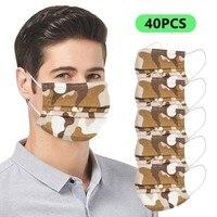 Mascarillasdetela Spain 20pcs Unisex Camouflage Disposable Industrial 3-ply Design Face Masks Face Mask Fashion For Men