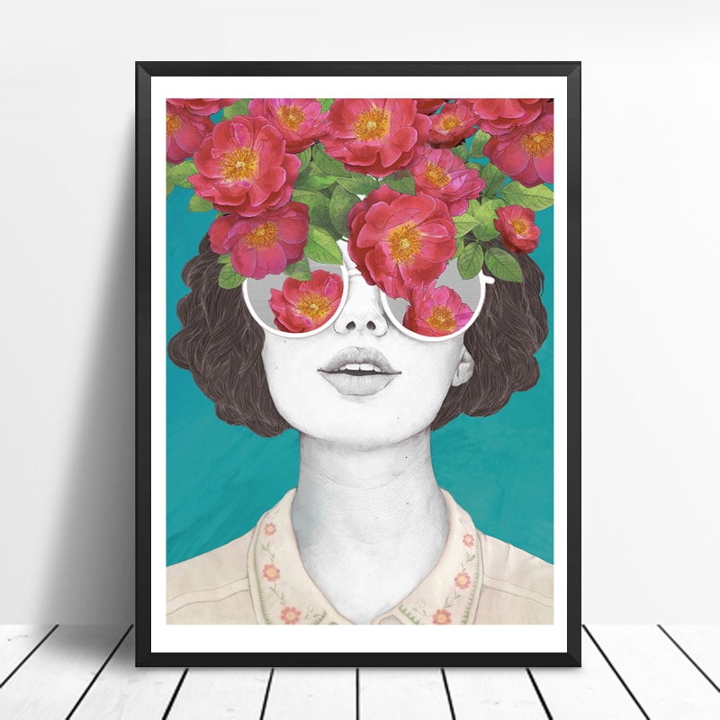 Carteles nórdicos flor chica lienzo de retrato pinturas carteles e impresiones arte de pared imagen para sala de estar decoración del hogar