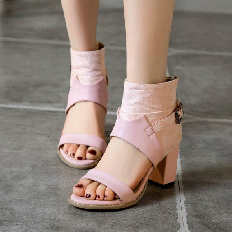 Sianie Tianie woman summer shoes open toe block high heels open toe womens sandals plus size 47 48 49 50 pink female sandals