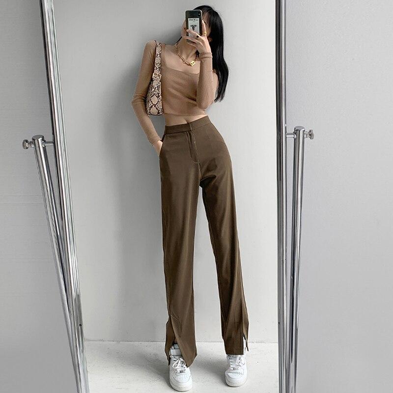 2021 Summer New Women's Wide Leg Pants High Waist Elegant Long Work Casual Loose Trousers Female Fas