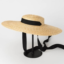Chapeau de canotier à large bord pour femme   19cm, 15cm, 10cm, chapeau de paille plat été chapeau Derby Kentucky blanc noir, cravate chapeau de soleil, casquette de plage