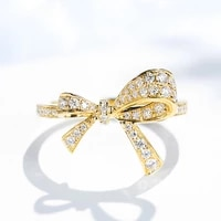 trendy rings 925 silver jewelry ornaments bowknot shape zircon gemstone gold color finger ring for women wedding promise party