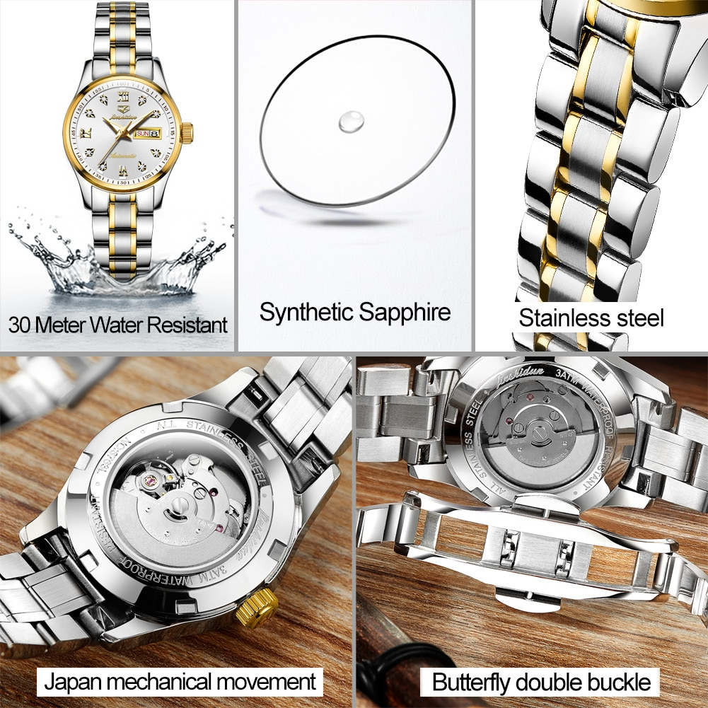 Women's automatic mechanical wristwatch waterproof stainless steel watchband with double calendar Men and Women Fashion Clock enlarge