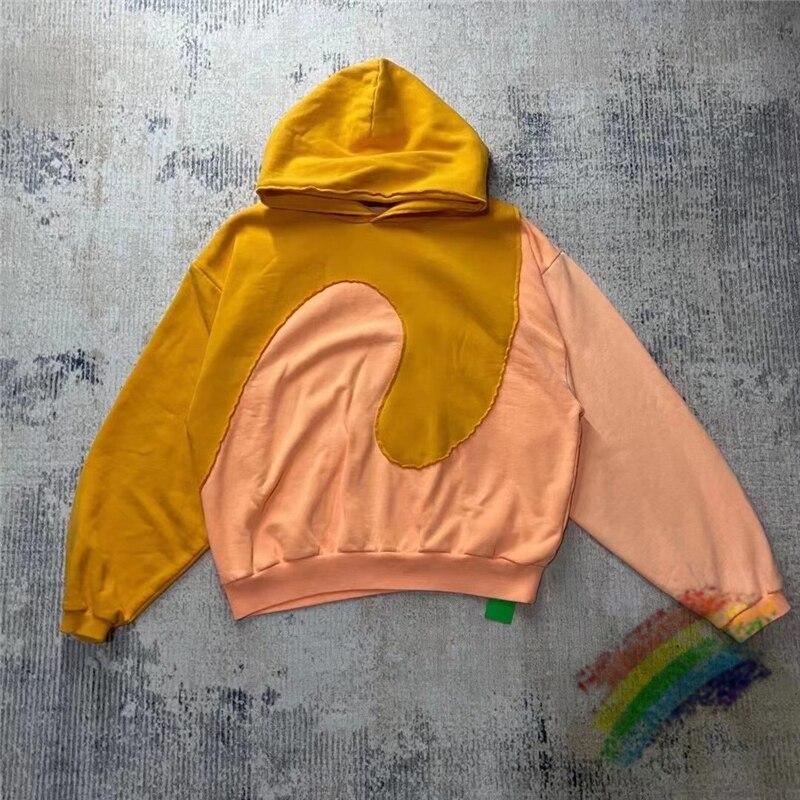 سترة جاستن بيبر بغطاء للرأس للرجال والنساء 1:1 قماش عالي الجودة سترة كاني ويست برتقالي أخضر