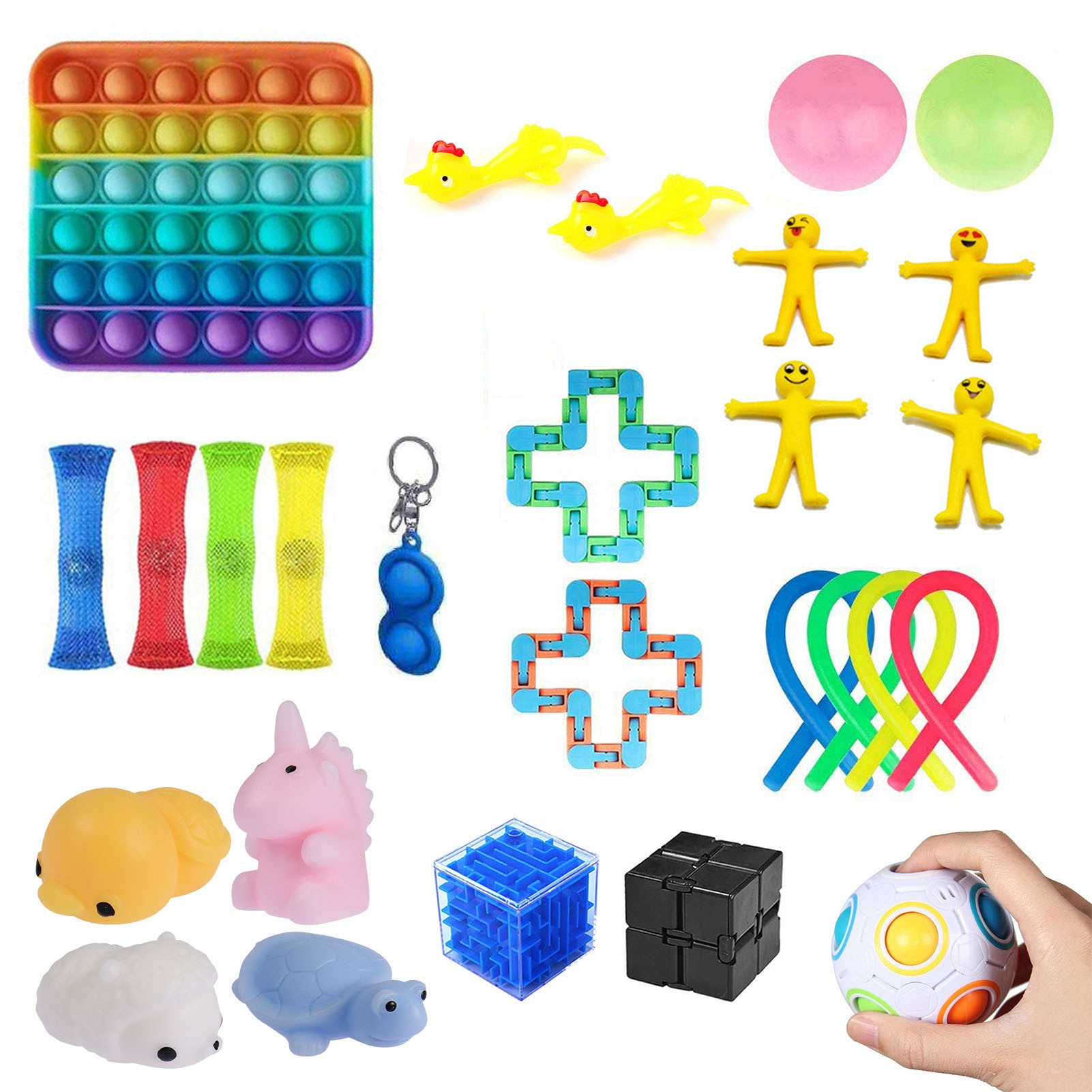 New Fidget Sensory Toy Set Stress Relief Toys Autism Anxiety Relief Stress Pop Bubble Funny Toy For Kids Adults