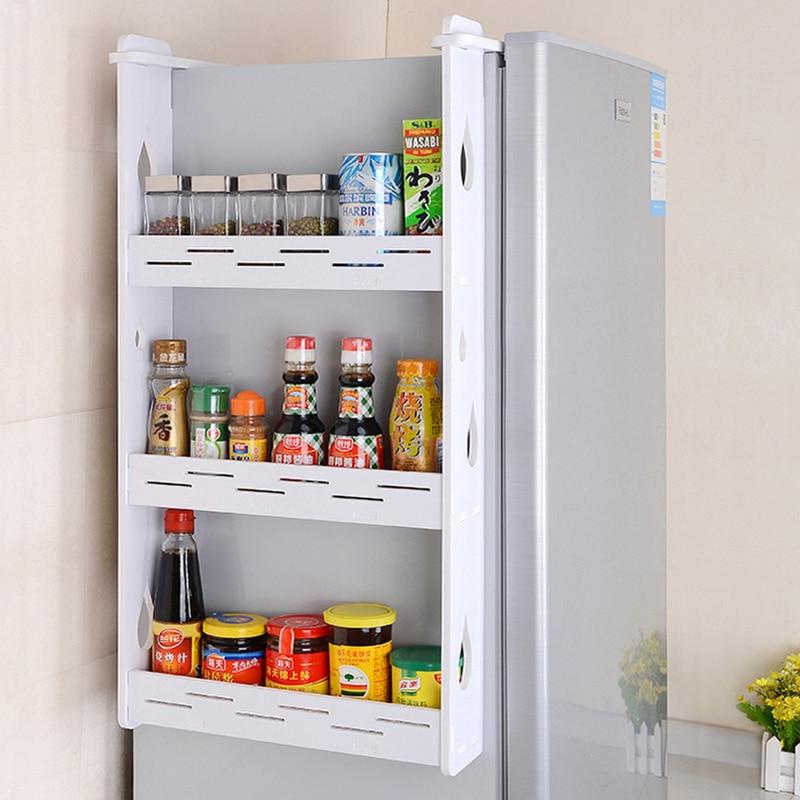2 or 3 tiers Refrigerator side storage rack wall hanging condiment spice bottle storage shelf kitchen fridge organizer mx912957