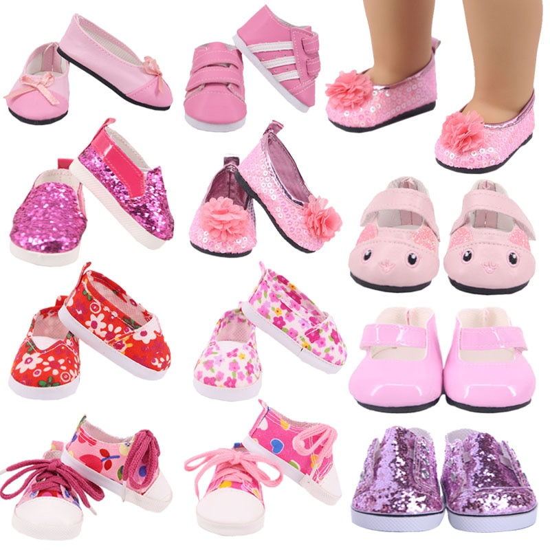 Doll Pink Kitty Shoes Canvas Shoes Sneakers Fit 18 Inch American Doll&43cm Baby New Born Doll Clothe