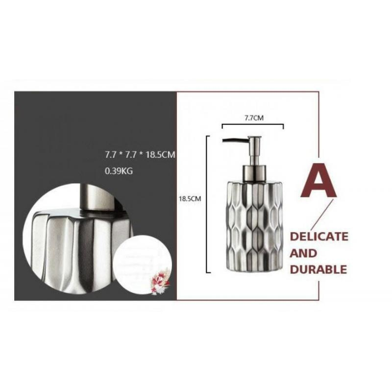 4pc Set Bathroom Wash Accessory Set European Ceramic Gray Soap Dispenser Pump Bottle Couple Mouthwash Cup Soap Dish Washing Tool enlarge