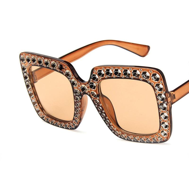 Luxury Vintage Sunglasses Big Square Rhinestone Brand Designer Sun Glasses For Women Oversize Fashion Crystal Sunglasses Eyewear