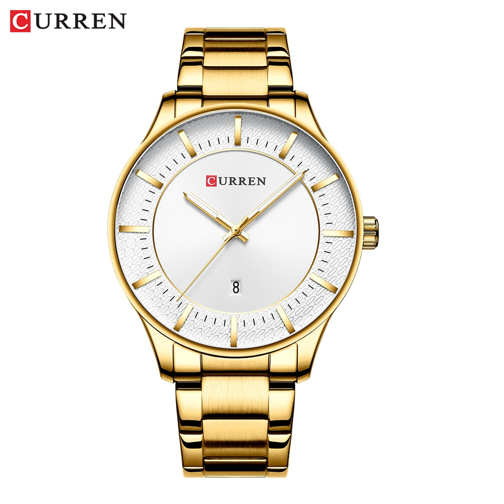 Relógios de Quartzo Pulseira de Aço Relógio de Pulso Luxo Ouro Negócios Homens Inoxidável Moda Data Automática Relógio Masculino Clássico