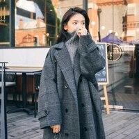 plaid woolen overcoat women trench coat casual ladies long outerwear loose winter fashion double breasted windbreaker female2021