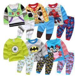 Для мальчиков пижамы для девочек с принтами персонажей из мультфильмов из кофти и штанов Костюмы Детский комплект принцессы из футболки ве...