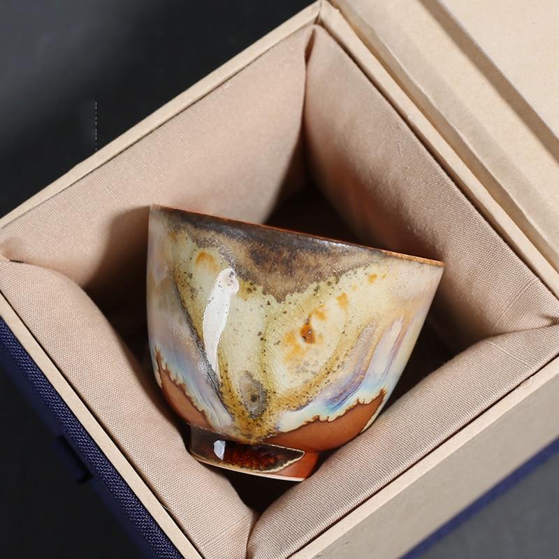 Taza de cerámica de 60ml Vintage Kiln Change, taza maestra de cerámica gruesa, tazas de té Kung Fu, tazón de té pequeño de estilo japonés, caja de decoración de regalo