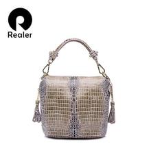 REALER torebki ze skóry naturalnej damskie małe torby na ramię crossbody damskie klasyczne wężowy wzór skórzana torebka wiadro