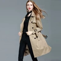2021 spring autumn long trench coat women double breasted slim trench coat female outerwear jackets fashion ladies windbreaker