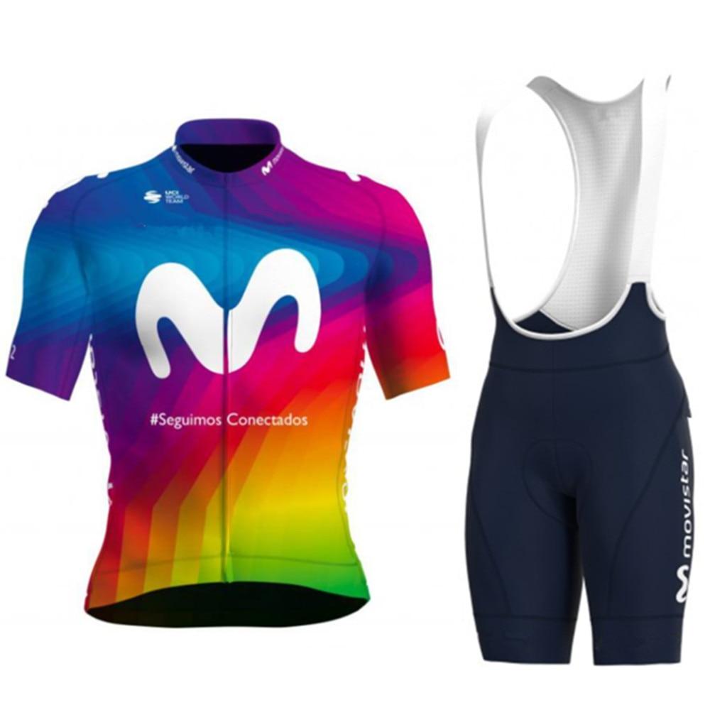 2020 MOVISTAR new cycling team champion jersey sets men's go pro short sleeve jersey gel pad bib shorts ciclilsmo maillot bike