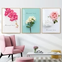 ranunculus flower plant canvas painting scandinavian poster floral nordic art print botanical wall picture for living room decor