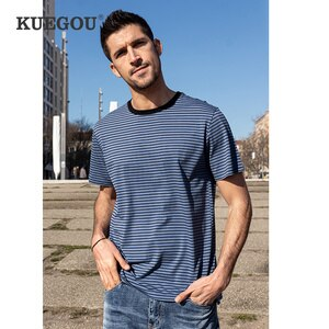 KUEGOU Summer Clothing Man's short sleeve T-shirt Striped Fashion Elastic t shirt For Men High Quality Top Plus Size ZT-90075
