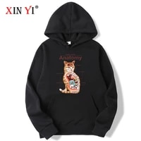 xin yi fashion brand mens hoodies cotton blend funny unplaning cat printed spring autumn male casual hip hop tops men hoodies