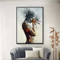 abstract explosion fire girl poster canvas painting nordic wall art poster and printings for living room bedroom decor unframed