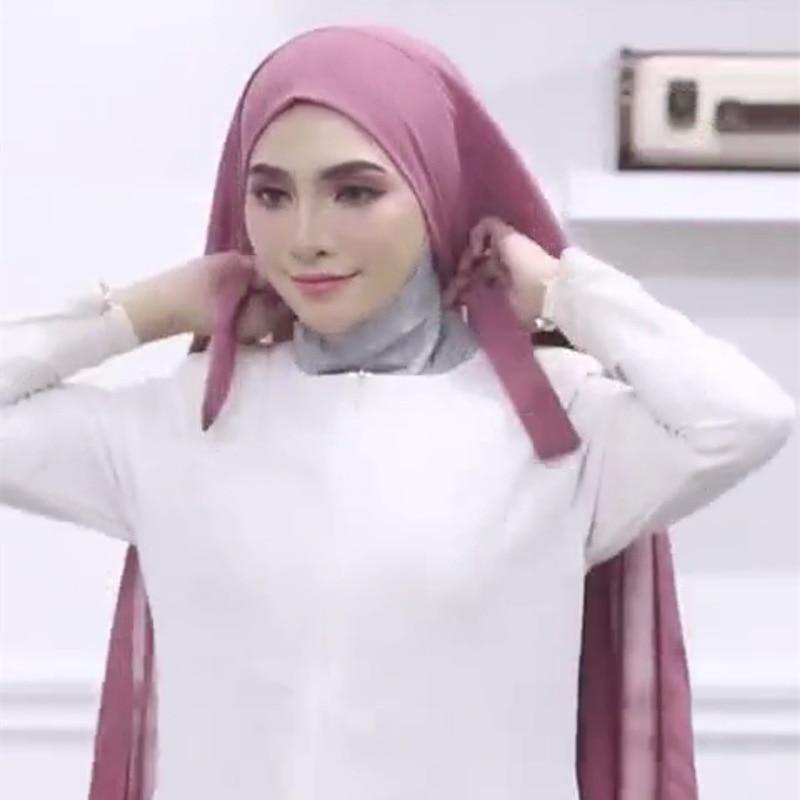 Hijab de gasa de Color liso para mujer musulmana, Bandage antideslizante, transpirable, Hijab largo islámico, diadema, turbante