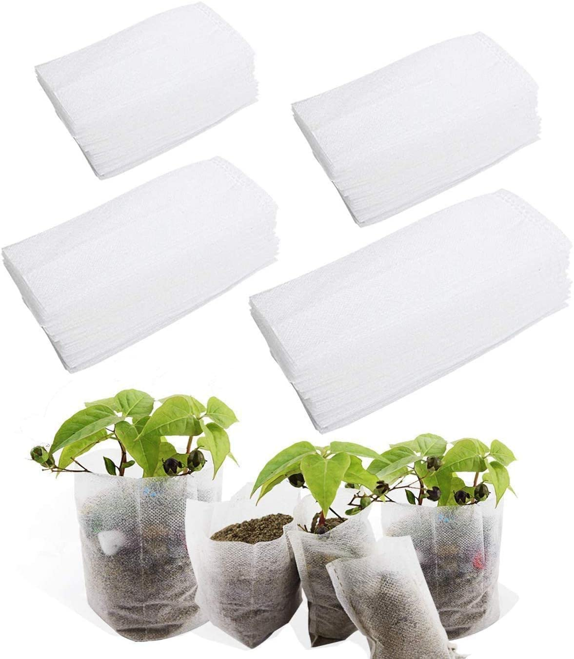 400 PCS 4 Size Biodegradable Non-Woven Nursery Bags Plant Grow Bags Fabric Seedling Pots Plants Pouch Home Garden Supply