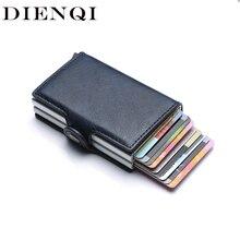 Protección de bloqueo Rfid para hombre, tarjetero de identificación, billetera de cuero y aluminio, tarjetero de negocios