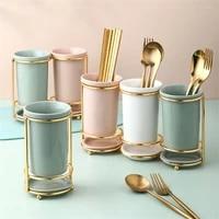 ceramic chopsticks holder restaurant draining rack kitchen light luxury spoon fork shelf creative home tableware storage box