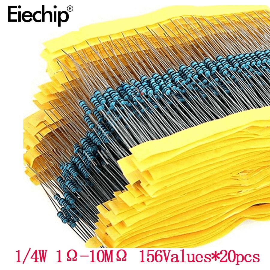 3120pcs 156 Value 1/4 watt Metal Film Resistor Assorted Kit,1% resistor samples pack 1 ohm-10M ohm DIY Electronic components set
