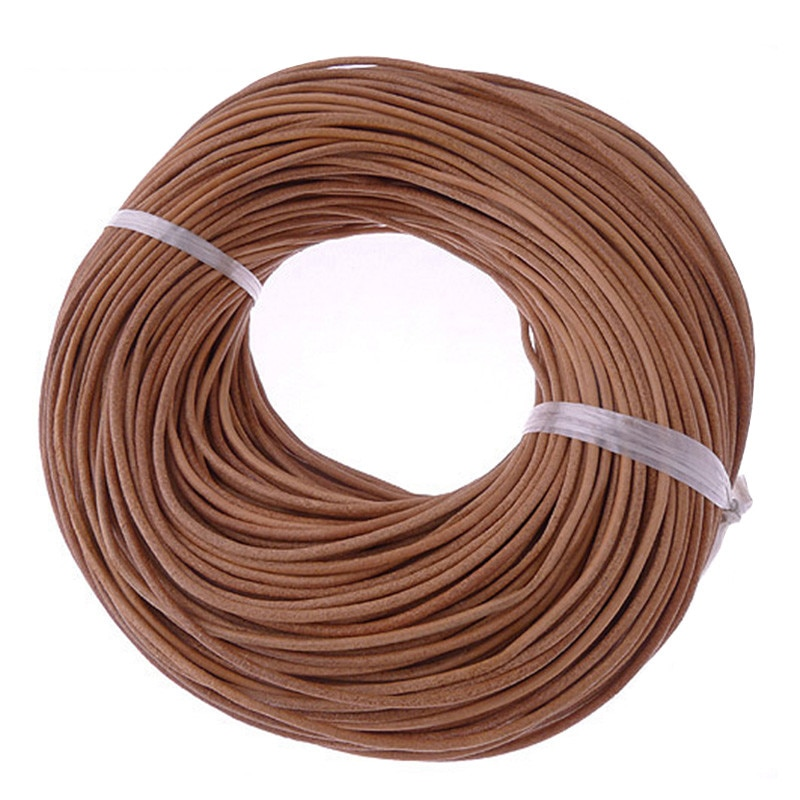 AliExpress - 10Meter 2mm Natural Color Real Genuine Leather Cord Round Rope String for DIY Necklace Bracelet Jewelry Cord Braided Handmade