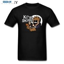 Camiseta de cómic de alta calidad Eddsworld, camiseta divertida de compras de gatito, camiseta de bolsillo con Gato, camiseta para hombre
