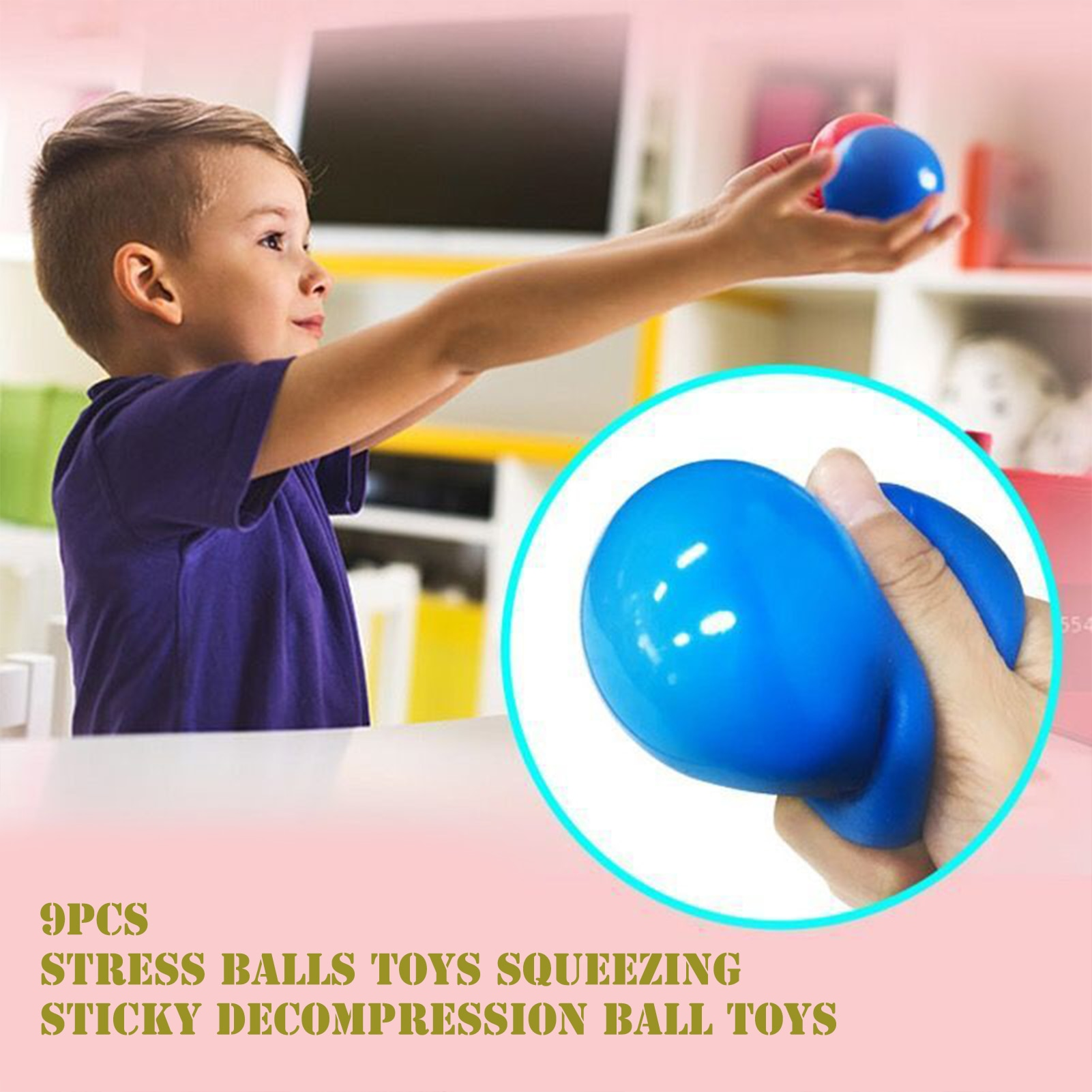 9PCS Novelty Stress Balls Toys Children Desktop Early Educational Toy Sensory Squeezing Sticky Decompression Ball Toys For Kids enlarge