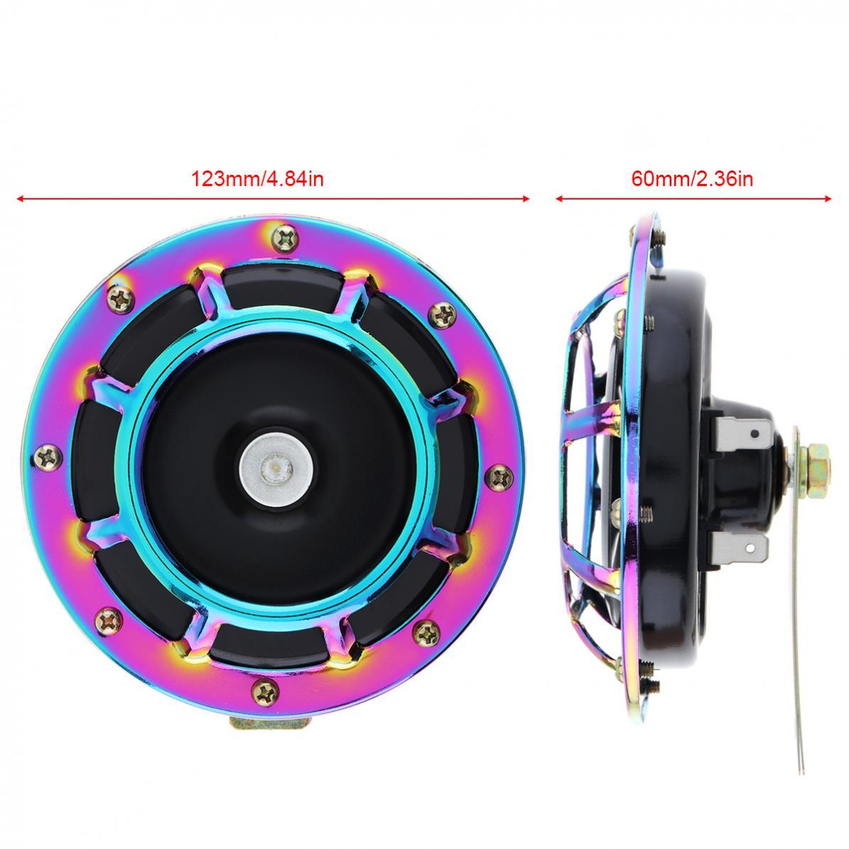 2 uds 12V Disco Universal bocina de coche súper fuerte 139DB Tono de explosión soporte de rejilla compacto eléctrico Tono de explosión cuerno apto para diferentes coches