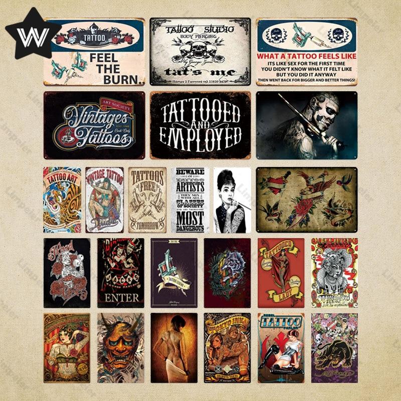 Металлический знак для тату-студии, металлический винтажный паб, забавный жестяной знак, Настенный декор для паба, клуба, бара, мужская пеще...