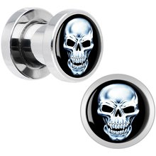 Stainless Steel Ghost Rider Ear Plug Screw Fit Flesh Tunnel Ear Plug Gauges Ear Stretcher Body Jewelry Ear Expander Piercings
