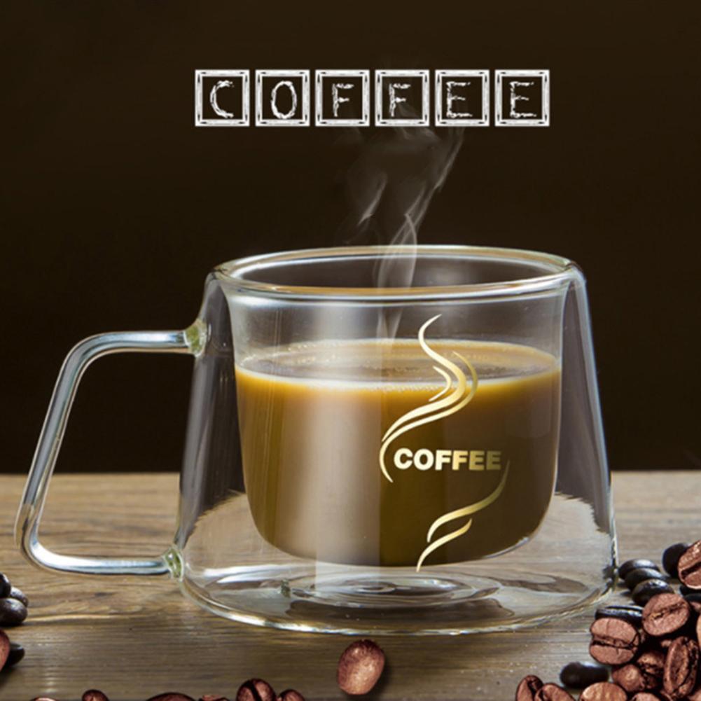 Double Wall Mug Coffee Mug Heat Insulation Office Mugs Double Coffee Glass Cup Drinkware Milk Travel Camping Mugs