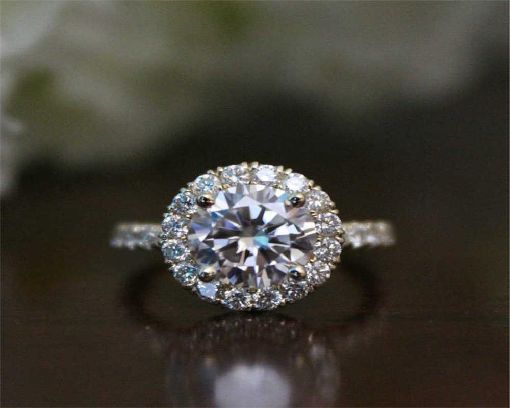 Color plata circonita compromiso de boda anillo banda mayorista de joyas tamaño 6-10