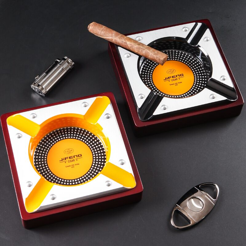 Red Wood Cigar Ashtray Home Ash Tray Outdoor Luxury 4 Holder Cigar Cigarette Ashtrays For COHIBA Cigar Accessories CA-014 enlarge