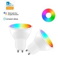EWeLink     ampoule LED intelligente Gu10  lampe 4W RGB   CCT  controle vocal a distance  fonctionne avec Alexa Google Home  application Wifi  220-240V
