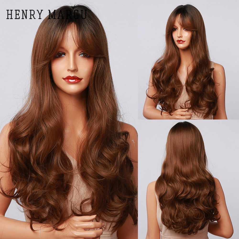 HENRY MARGU Brown Red Ombre Synthetic Wigs With Bangs Long Natural Wavy Wigs for Women Cosplay Party Hair Wigs Heat Resistant
