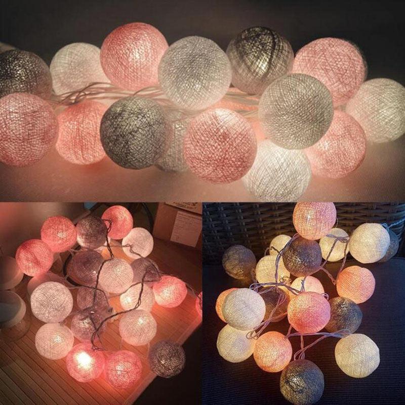 Гирлянда с хлопковыми шариками, светодиодная гирлянда, гирлянда для Хэллоуина, вечеринки, сада, спальни, праздника, свадьбы, улицы, лампа на ...